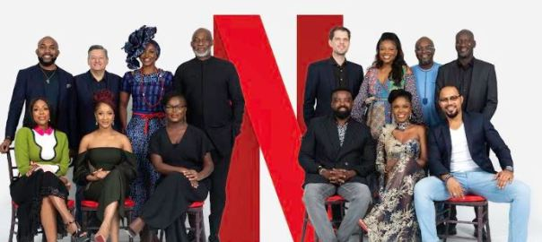 Back row (From L-R): Banky W, Ted Sarandos (Netflix Chief Content Officer), Kate Henshaw, Richard Mofe-Damijo, Felipe Tewes (Netflix Italian & African Originals Director), Omoni Oboli, Ben Amadasun (Netflix Africa Licensing Director) and Akin Omotoso.