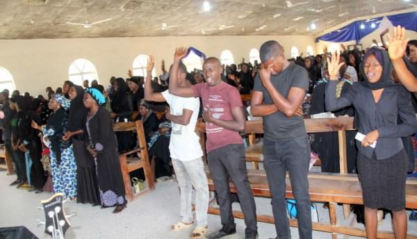 worshippers in Damaaturu praying for Leah's release from Boko Haram captivity