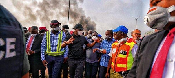 Babajide Sanwo-Olu at the explosion scene