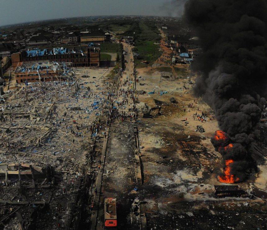 Abule Ado explosion scene [PHOTO CREDIT:@jidesanwoolu]