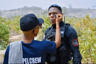 Femi Jacobs on the set of 'Eagle Wings, the Nigerian Air Force story' Twitter DefenceNigeria