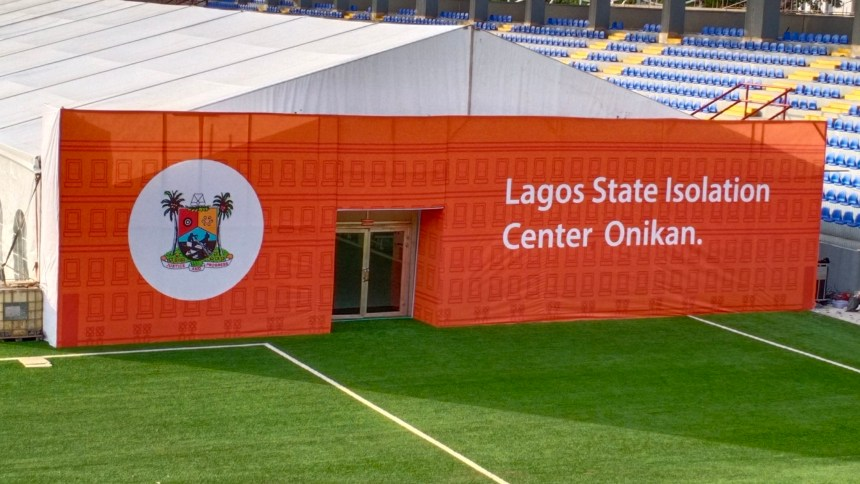 The 110-bed Isolation Center at Mobolaji Johnoson, Stadium, Onikan, Lagos Island, constructed by the Lagos State Government and Guaranty Trust Bank, unveiled on Saturday, March 28, 2020.