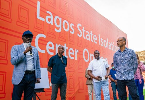 Lagos State Governor, Mr. Babajide Sanwo-Olu (left); Managing Director, Guaranty Trust Bank (GTB), Mr. Segun Agbaje (second left) and Commissioner for Health, Prof. Akin Abayomi (right), during the unveiling of the 110-bed Isolation Center at Mobolaji Johnoson Stadium, Onikan, Lagos Island, constructed by the Lagos State Government and GTB, on Saturday, March 28, 2020.