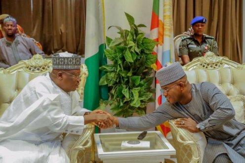 Senate President, Ahmad Lawan commiserate with Yahaya Bello over the demise of his mother, Hauwau Bello [PHOTO CREDIT: @DrAhmadLawan]