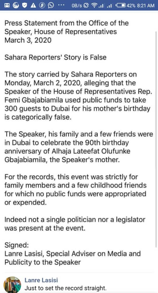 A screenshot of Lanre Lasisi's Facebook page, addressing a story on the Speaker of the House of reps, Femi Gbajabiamila.