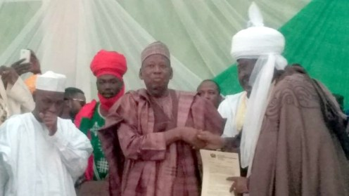 Ganduje presents letters of appointment to Emirs of Kano, Bichi