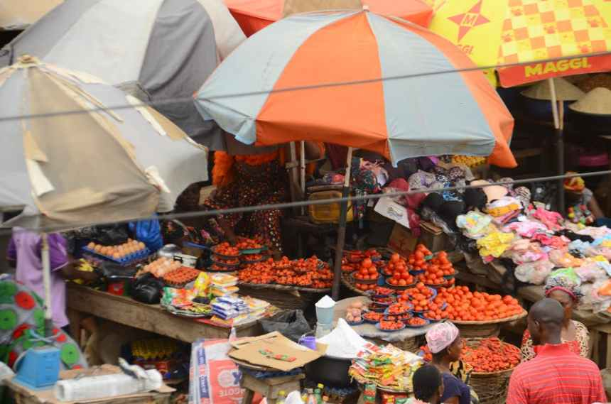 A food market in Ibafo in Nigeria's Ogun State. The effects of COVID-19 on food systems will be keenly felt in poorer countries. [Photo - The Conversation]
