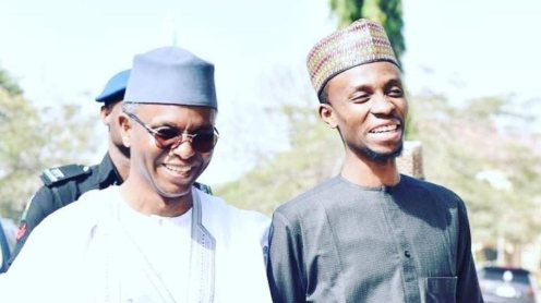 Governor of Kaduna State, Nasir El-Rufai and his son, Bello El-Rufai. [PHOTO CREDIT: Official Twitter handle of Bello El-Rufai]
