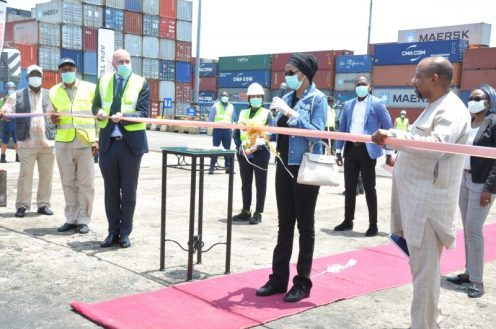 L-R: The Head of Terminals, Africa and Middle East region of APM Terminals, David Skov; Managing Director of Nigerian Ports Authority (NPA), Hadiza Bala Usman, and NPA's Executive Director, Marine and Operations, Onari Brown, at the commissioning of two new multimillion dollars state-of-the-art Mobile Harbor Cranes acquired by APM Terminals Apapa on Thursday.