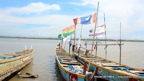 Sunday Kwesi's two canoes at the Uton riverbank as he no longer fishes due to the contamination of his fishing nets