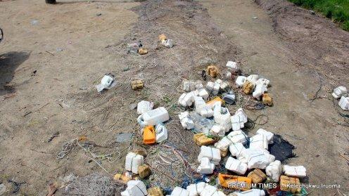 Nsopikpo Afia and Sunday Kwesi's contaminated fishing nets on the sea bank.