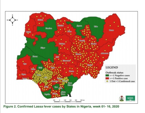 map showing confirmed Lassa fever cases by states