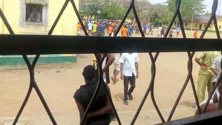 Scene the riot at the Kaduna Correctional Centre on Tuesday.