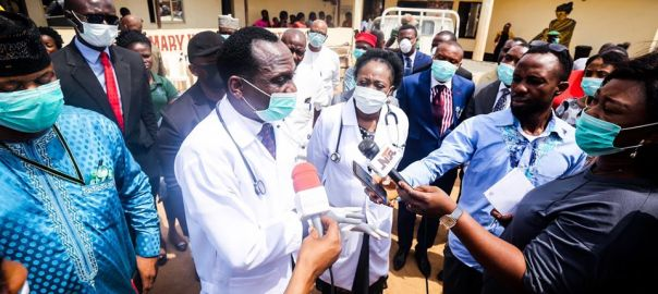 Dunamis International Gospel Church visit to Primary Health Care Centre in Lugbe [PHOTO CREDIT: Dr. Paul Enenche]