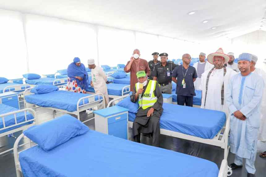 Gov. Ganduje and his team inspecting the Kano State isolation center [PHOTO: Kano Govt.]