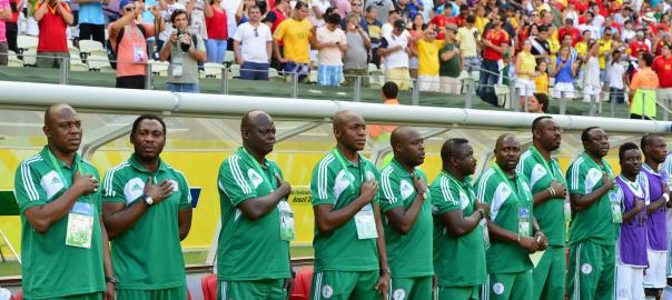 Keshi and his technical crew with coach Houdonou standing next to Amokachi