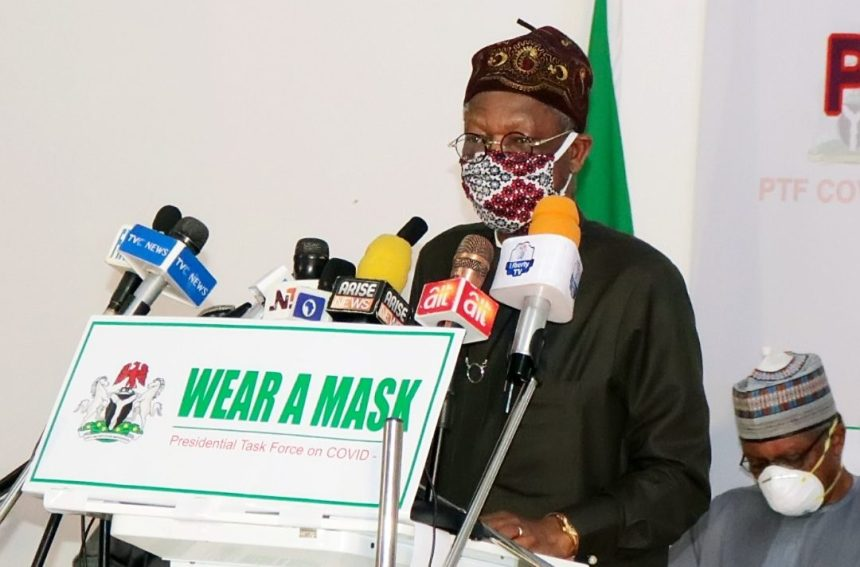 Minister of Information and Culture and member of the Presidential Task Force on COVID-19, Lai Mohammed.