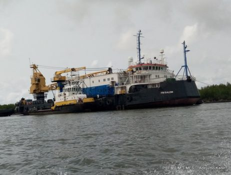 One of the ships on the sea