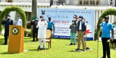 L-R: Lagos State Deputy Governor, Dr. Obafemi Hamzat; Governor Babajide Sanwo-Olu; Head of Service, Mr. Hakeem Muri-Okunola and Chairman, the State Public Service Joint Negotiating Council (JNC), Comrade Razaq Falade during the May Day celebration at Lagos House, Marina, on Friday, May 1, 2020.