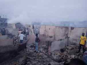 Shops razed at Shomolu market