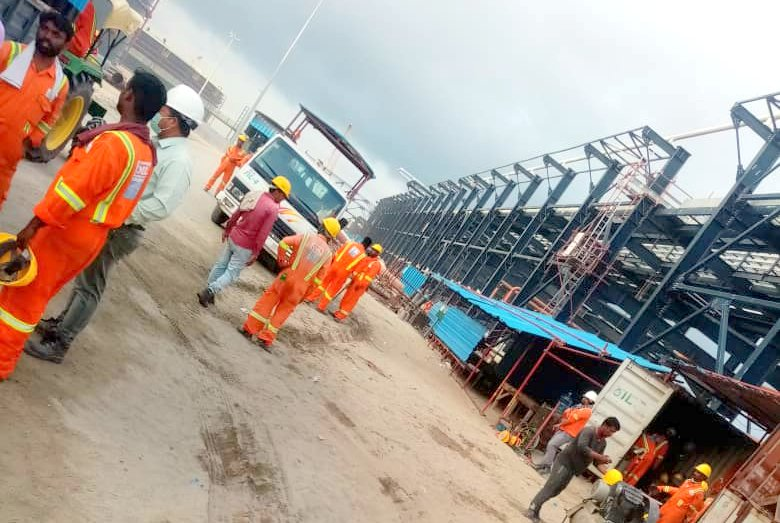 Workers on the Dangote Refinery site during Covid-19 lockdown
