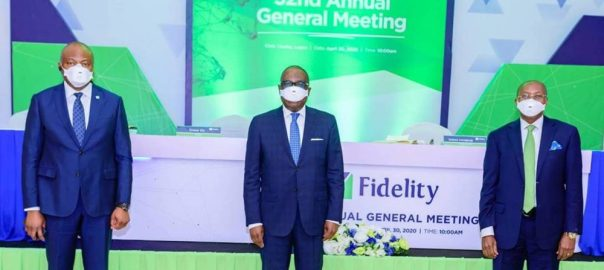 L- R. Managing Director/Chief Executive Officer, Nnamdi Okonkwo; Chairman, Board of Directors, Ernest Ebi and Independent Non-Executive Director, Otunba Seni Adetu all of Fidelity Bank Plc at the Bank's 32nd AGM held at the Civic Centre….Thursday