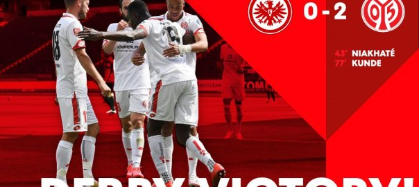 Taiwo Awoniyi and his Mainz teammates secured another away win in the Bundesliga. [PHOTO CREDIT: Official Twitter handle of Mainz]