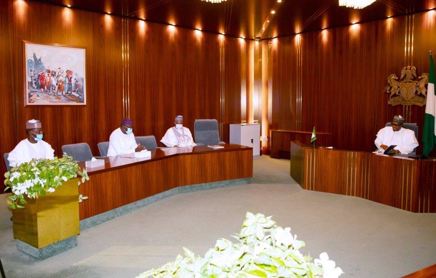 President Muhammadu Buhari and Chairman, APC Caretaker Committee, Governor of Yobe State, Mala Buni, today at the State House, Abuja. [PHOTO CREDIT: @BashirAhmaad]