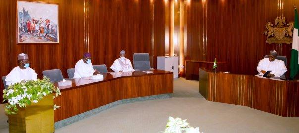 and Chairman, APC Caretaker Committee, Governor of Yobe State, Mala Buni, today at the State House, Abuja. [PHOTO CREDIT: @BashirAhmaad]