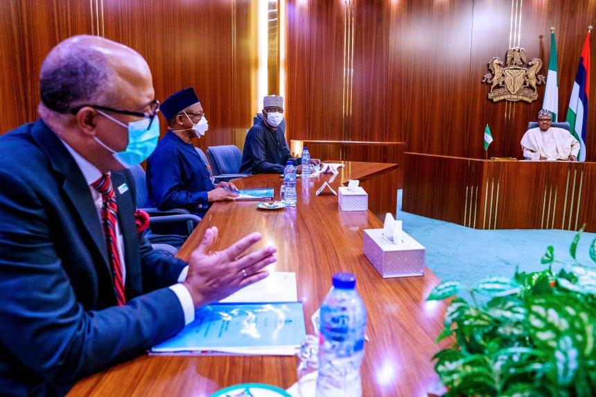 President Muhammadu Buhari meeting with Osagie Ehanire, minister of health, and Chikwe Ihekweazu