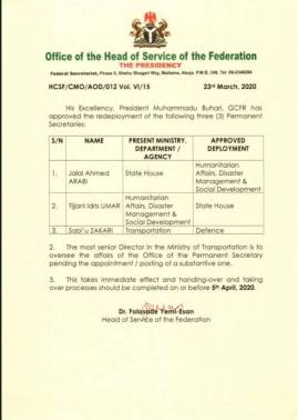 Letter of redeployment of State House Permanent Sec