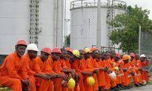 Nigerian oil workers on strike