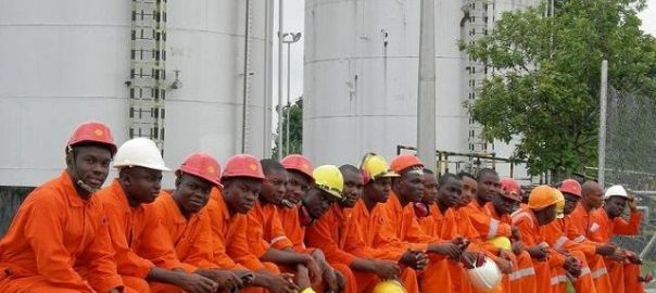 Nigerian oil workers on strike