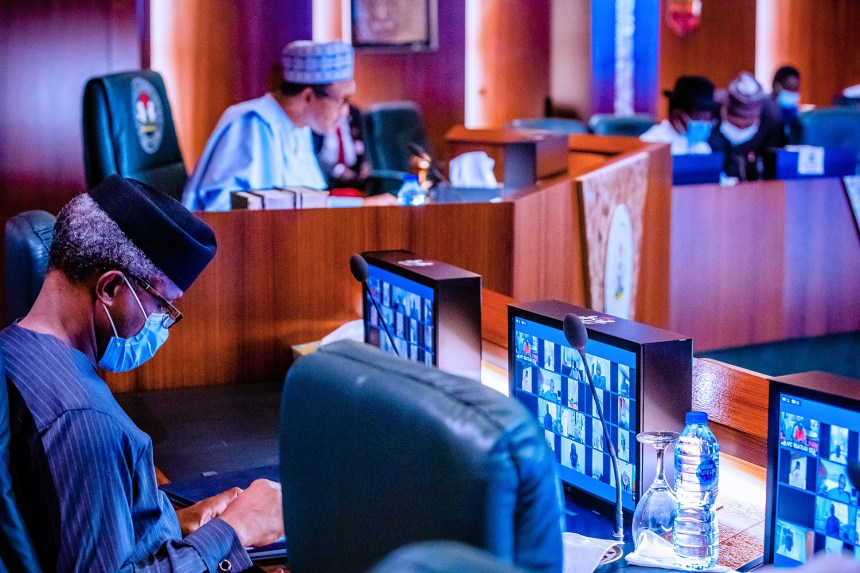 President Mohammadu Buhari (right) and Vice President Yemi Osinbajo (left) at APC NEC Meeting at the State House. Photo Credit: State House Photos