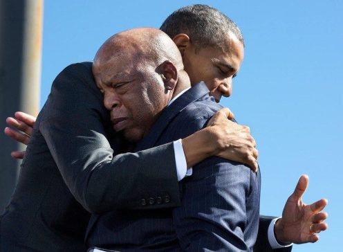 President Obama hugs John Lewis during event commemorating the 50th Anniversary of Bloody Sunday.