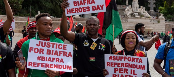A freedom march for Biafra held to mark the anniversary of the unilateral declaration of independence in 1967 that sparked a brutal 30-month civil war in Nigeria. [Photo - The COnversation]