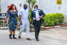 Anuoluwapo Adepoju, a popular Lagos cosmetic surgeon arriving her trial in Lagos on Friday [PHOTO CREDIT: FCCPC]