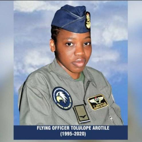 Death register of Flying Officer Tolulope Arotile. (PHOTO CREDIT: NAF)