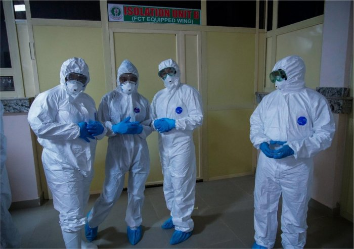 Health worhers on PPE used to tell the story.