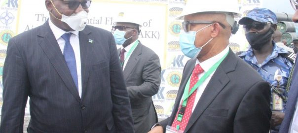 L-R Executive Director, North, Fidelity Bank Plc, Hassan Imam, Chairman & CEO, Oilserv Limited, Mr. Emeka Okwuosa at the ground breaking ceremony for the $2.8bn AKK Gas Project at Ajaokuta, Kogi State on Tuesday.