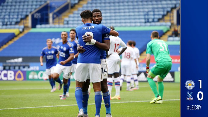 Iheanacho cebrates after scoring for Leicester City