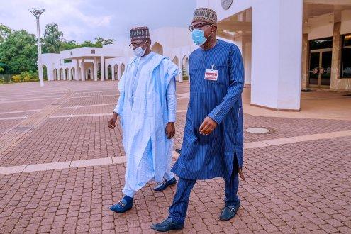 Former Speaker, Rt. Hon. Yakubu Dogara with Governor of Yobe State, and Chairman of APC Caretaker Committee, H.E. Mai Mala Buni visited the State House, Abuja this afternoon to meet with President Muhammadu Buhari.