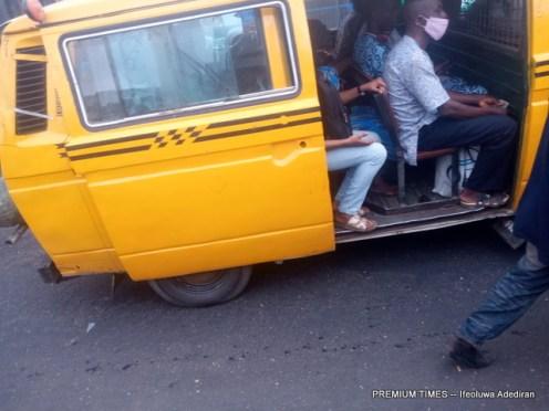 Bus loading full capacity in Lagos