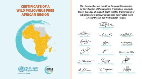 CERTIFICATE OF A WILD POLIO VIRUS FREE AFRICAN REGION!