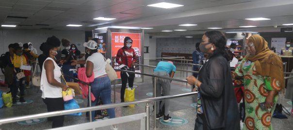 EVACUATION UPDATE 94 out of 150 Stranded Nigeria Girls arrive Murtala Mohammed International Airport, Lagos from Lebanon today Wednesday, 12th of August, 2020. [PHOTO CREDIT: Nigerians in Diaspora Commission @nidcom_gov]