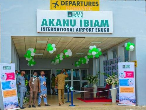 Nigeria reopens Akanu Ibiam International Airport Enugu. [PHOTO CREDIT: Official Twitter handle of the Minister of Aviation Hadi Sirika]