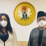 Dr Betta Edu (left) with the Minister of Health, Dr Osagie Ehanire.