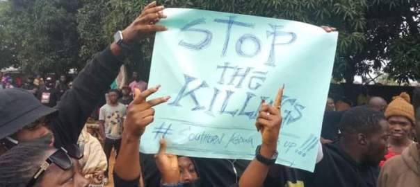 Youth in Southern Kaduna protesting the killings