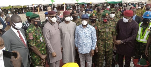 Governor David Umahi performing the groundbreaking ceremony of the Nigerian Army Reference Hospital in Abakaliki