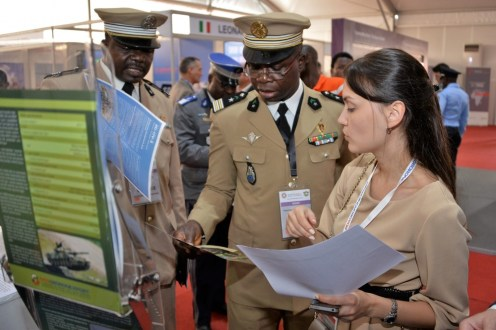 Rosoboronexport's stand at the ShieldAfrica security and defense exhibition, held in Abidjan, Cote d'Ivoire in January 2017. Rosoboronexport relies on African governments for about 30 percent of its business. [Credit: Rosoboronexport]